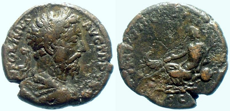 Römisches Reich Marcus Aurelius Rome mint As RIC 1145 river-god Danube As 174-175 AD. F
